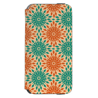 Funky Starburt Teal & Orange Design Incipio Watson™ iPhone 6 Wallet Case