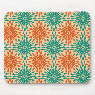 Funky Starburt Teal & Orange Design Mouse Mat