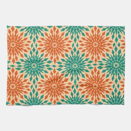 Funky Starburt Teal & Orange Design Tea Towel