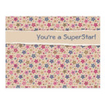 Funky Stars Beige Rose Post Cards