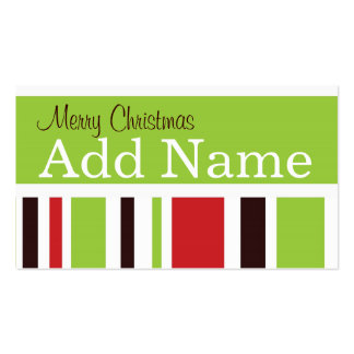 Funky Stripe Christmas Gift Tag Business Card Templates