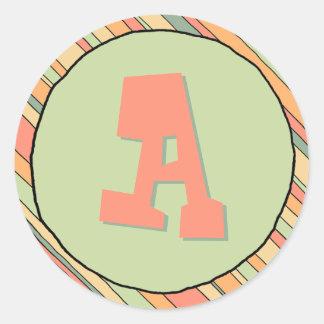 Funky Stripes Monogram Sticker
