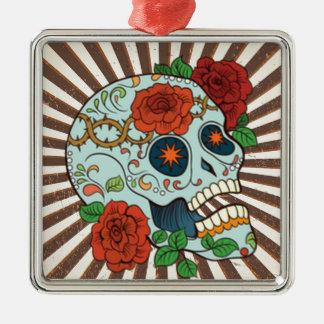 Funky Sugar Skulls Dia de los Muertos Silver-Colored Square Decoration