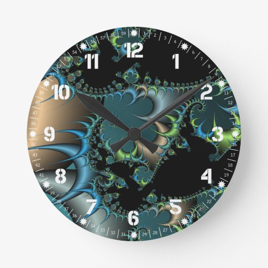 Funky Swirling Spirals Teal Black Fractal Art Wall