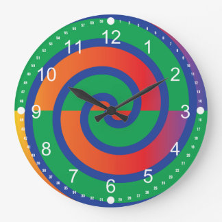 Funky Swirls Pattern Color Splash Large Clock