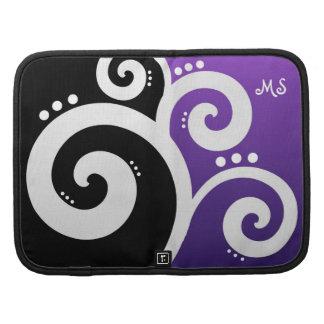 Funky Swirls Purple Custom Initials Organizers
