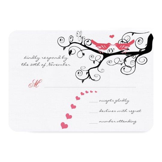 Funky Swirly Pink Love Bird Tree Wedding RSVP