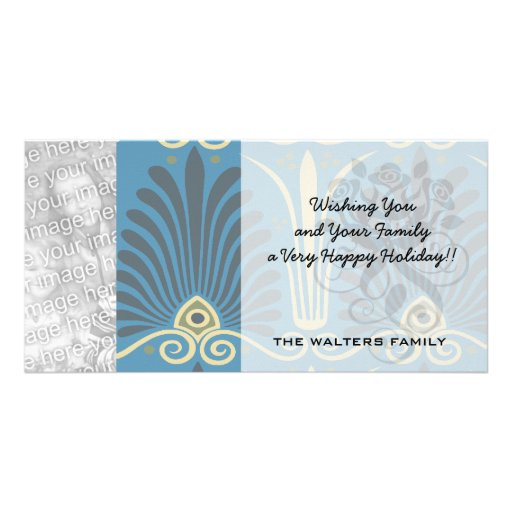 funky taupe and blue ancient damask personalized photo card