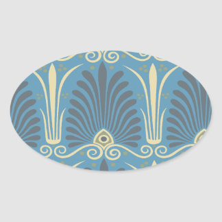 funky taupe and blue ancient damask stickers