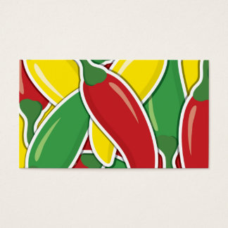 Funky traffic light chilli peppers business card