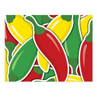 Funky traffic light chilli peppers postcard