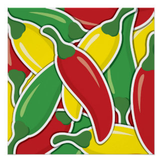 Funky traffic light chilli peppers poster