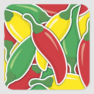 Funky traffic light chilli peppers square sticker
