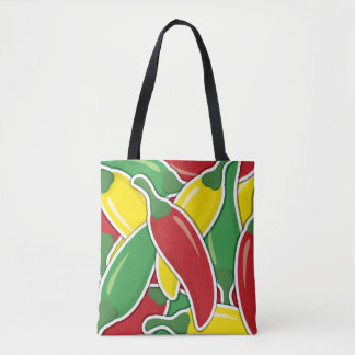 Funky traffic light chilli peppers tote bag