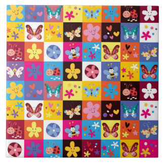 Funky Trendy Butterfly Pattern Large Square Tile