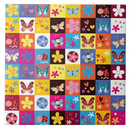 Funky Trendy Butterfly Pattern Ceramic Tiles