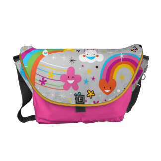Funky Trendy Retro Abstract Pattern Messenger Bag