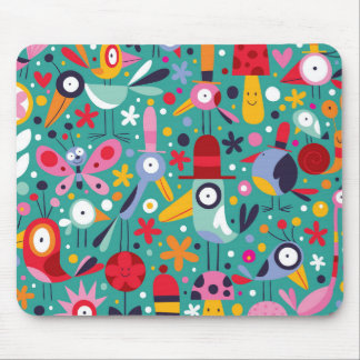 Funky Trendy Retro Abstract Pattern Mouse Pad