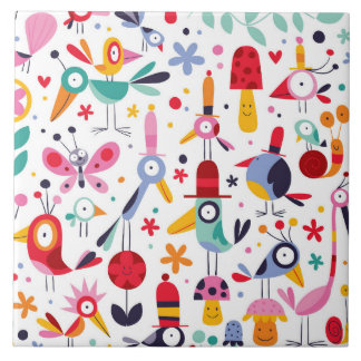 Funky Trendy Retro Birds Tile
