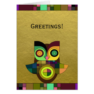 Funky Tribal Aztec Owl on Faux Gold Foil Card