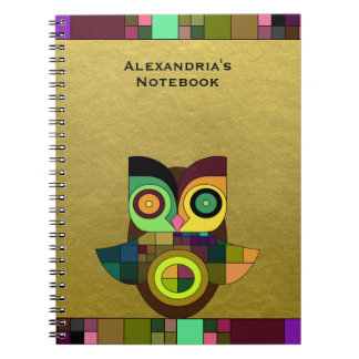 Funky Tribal Aztec Owl on Faux Gold Foil Notebook