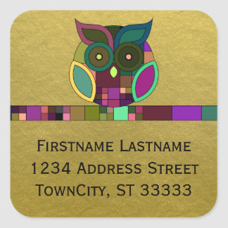 Funky Tribal Aztec Owl on Faux Gold Foil Square Sticker