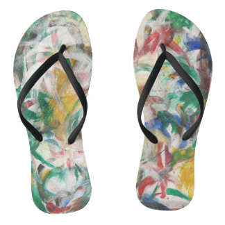 Funky Tropical Abstract Palm Leaves Flip Flops