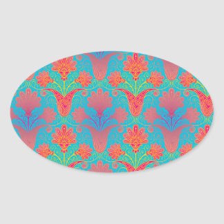 funky tropical colors damask oval sticker
