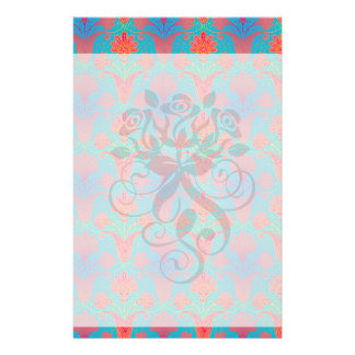 funky tropical colours damask stationery design