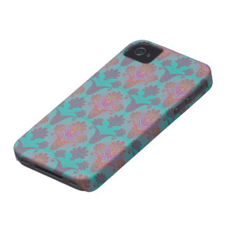 funky turquoise and magenta  damask iPhone 4 case