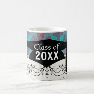 funky turquoise and magenta  damask graduation basic white mug