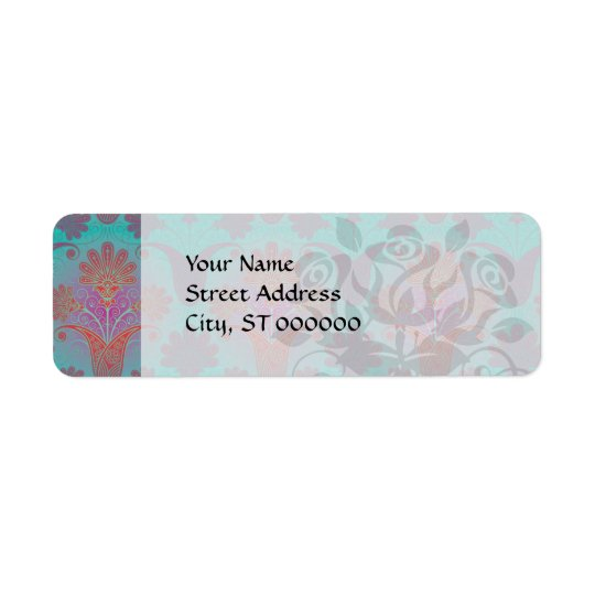 funky turquoise and magenta  damask return address label
