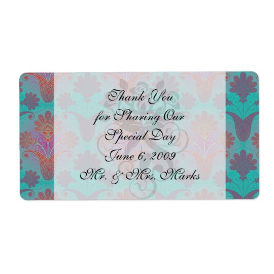 funky turquoise and magenta  damask shipping label