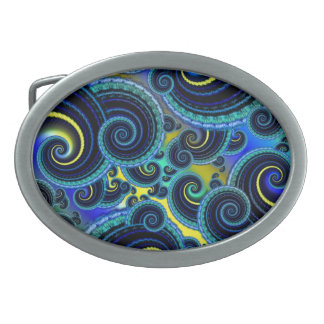 Funky Turquoise and Yellow Swirl Pattern Belt Buckle