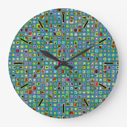 Funky Turquoise Textured Mosaic Tiles Pattern Large Clock