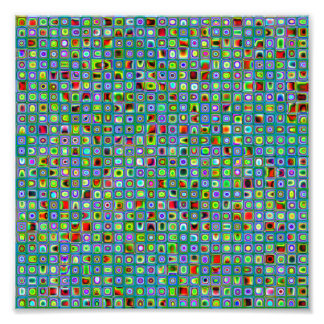 Funky Turquoise Textured Mosaic Tiles Pattern Photograph