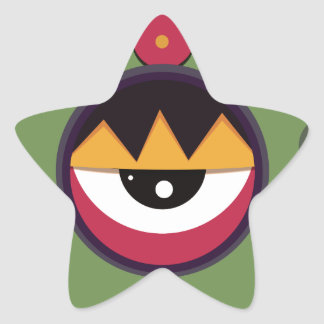 Funky vector eye in goggle melting design star sticker