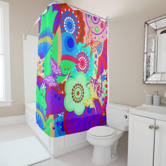 Funky Vector seamless, with butterflies Shower Curtain