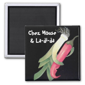 Funky Veggie Personalized Square Magnet
