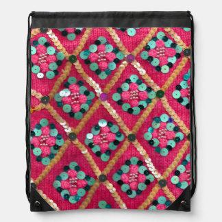Funky Vibrant Pink Glam Textile Design Drawstring Bag