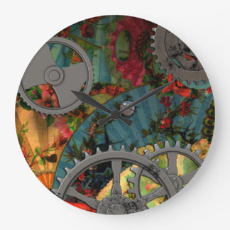 Funky Victorian Pewter Steampunk Large Clock