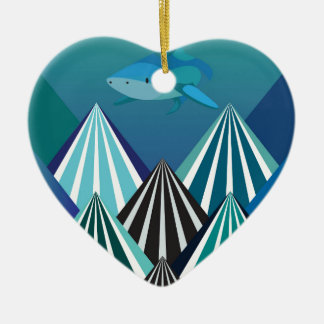 Funky Water Mountains.jpg Ceramic Heart Decoration