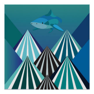 Funky Water Mountains Poster