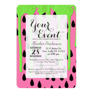 Funky Watermelon Neon Green Paint Drips 13 Cm X 18 Cm Invitation Card