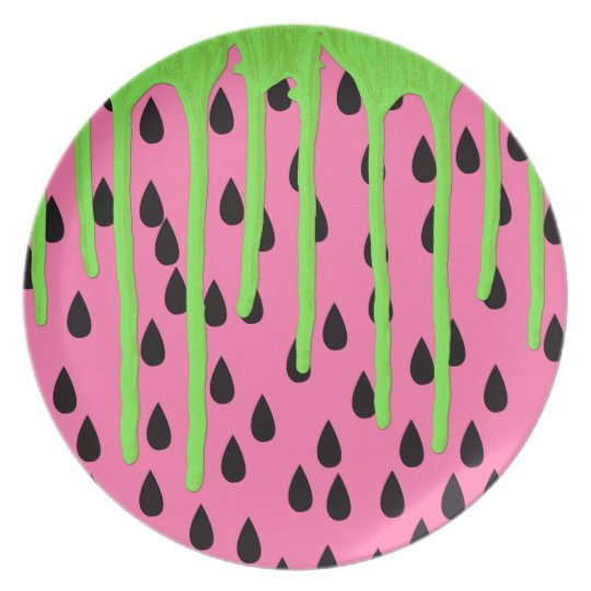 Funky Watermelon Neon Green Paint Drips Dinner Plates
