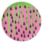 Funky Watermelon Neon Green Paint Drips Plate