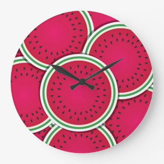 Funky watermelon slices large clock