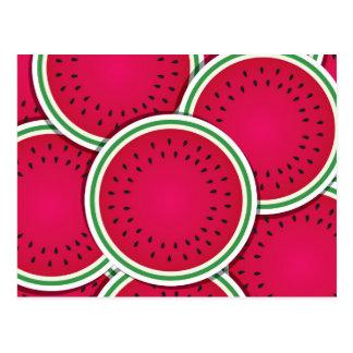 Funky watermelon slices postcard