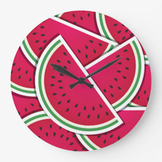 Funky watermelon wedges large clock