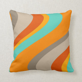 Funky Waves Retro Pillow - orange and teal